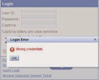irctc login error