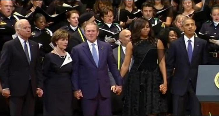 جورج بوش يرقص في جنازة شرطي قتل في دالاس والأمريكيون يطالبون بتحليل دمه