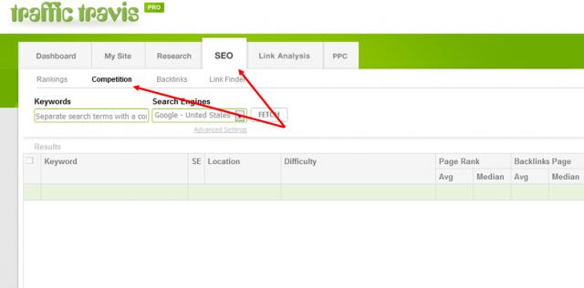 Esta herramienta nos permitirá filtrar la lista de keywords