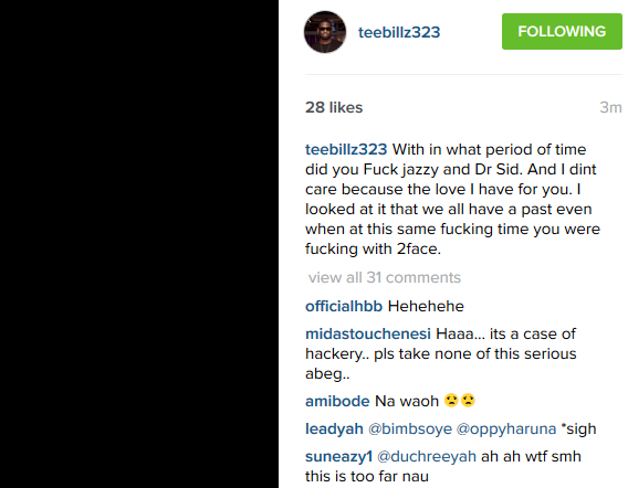 Tee Billz reveals how Tiwa fcked and slept with dr sid,don jazzy and 2face
