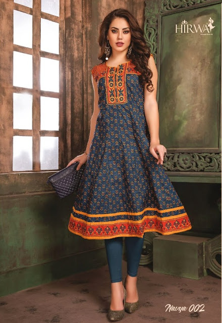 Hirwa Navya  vol 5 Anarkali Embroidered kurtis wholesaler