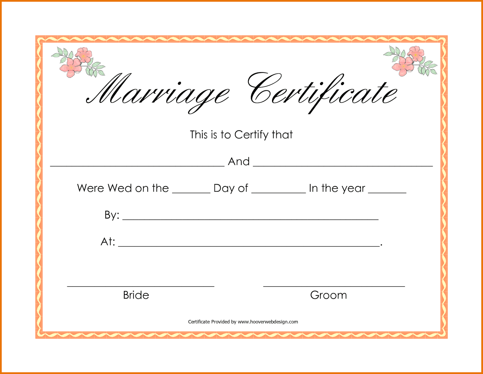 Printable Marriage Certificates Template Zrom