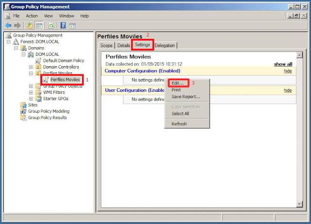 Group Policy Management - Settings.