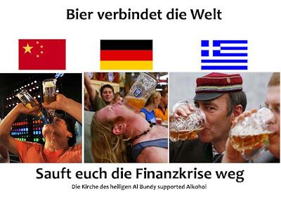 Bier saufen China, Deutschland, Griechenland