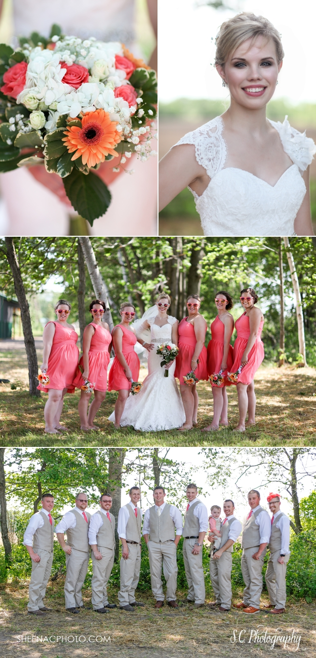 pink and tan wedding suits groomsment, pink and orange bridesmaids dresses, bridal party sunglasses, S.C. Photography