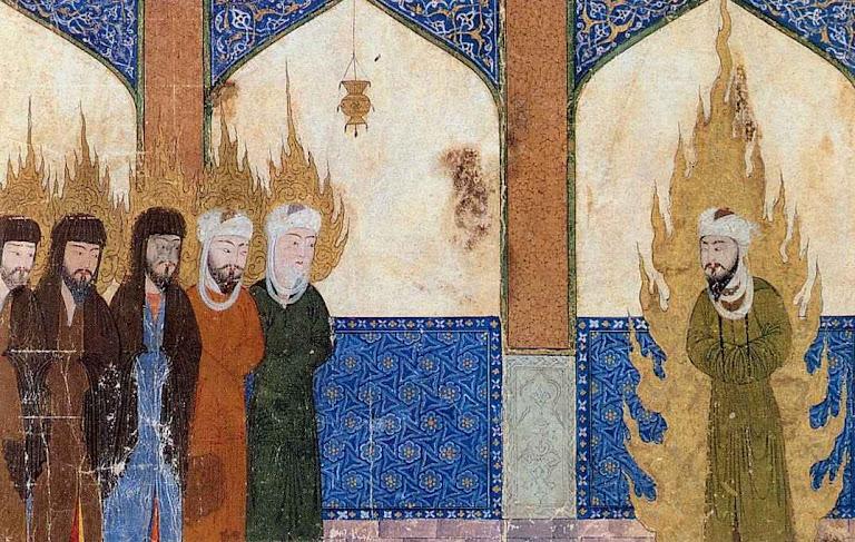 Maomé envolvido em chamas liderando as orações de Abraão, Moisés, Jesus e outros. Iluminura persa. Ele se achava superior até de Jesus Cristo e de todos os profetas.