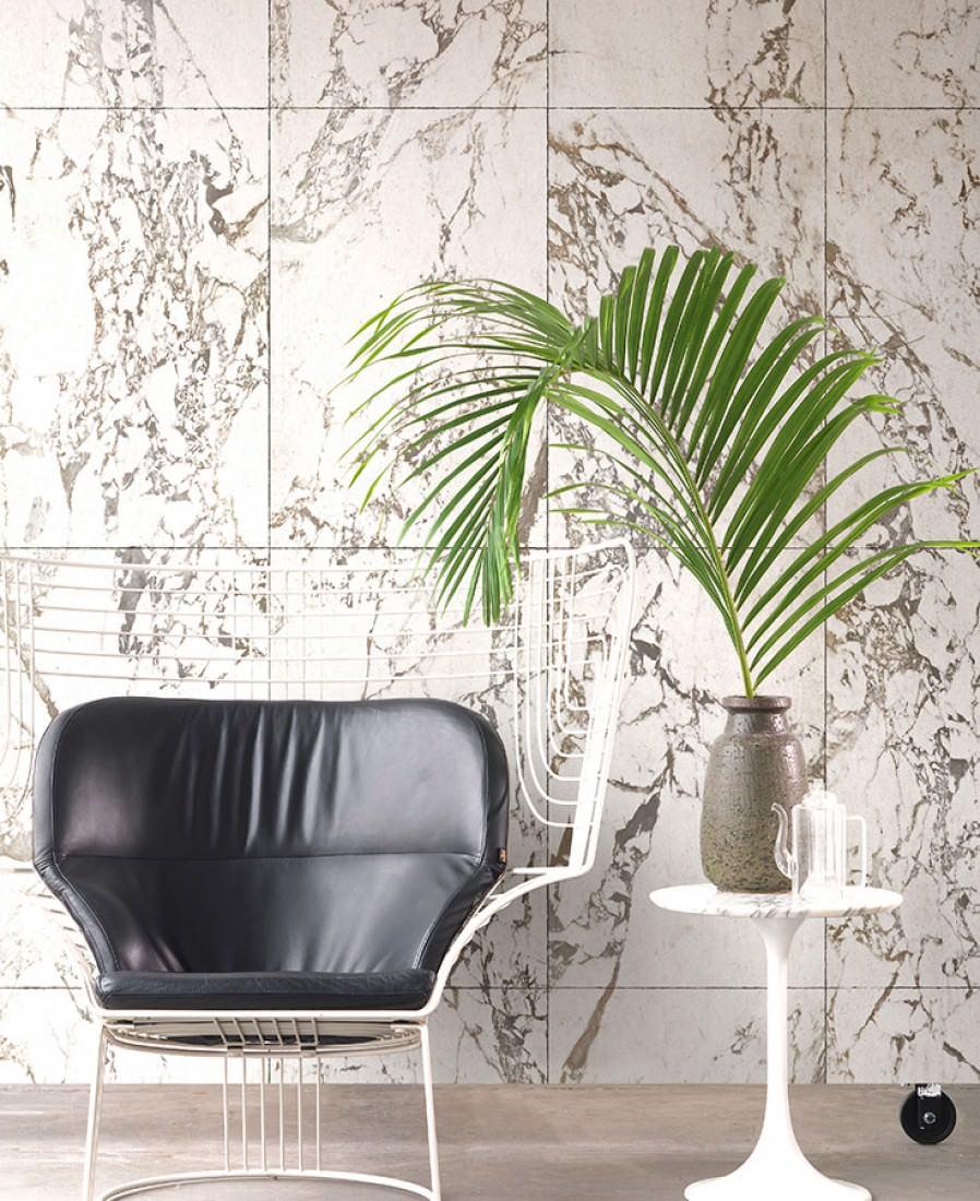 muro marmo sedia e pianta