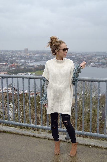 layering an oversized sweater