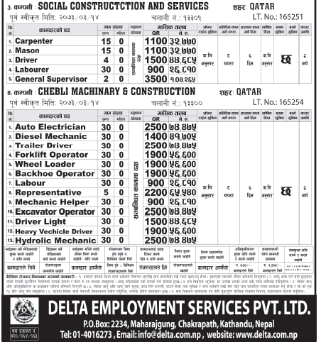 Jobs For Nepali In Social Construction & Services, Qatar Salary -Rs.1,00,000/