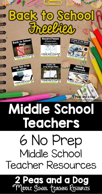 6 no prep free lessons for middle school teachers.
