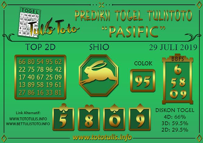 Prediksi Togel PASIFIC TULISTOTO 29 JULI 2019