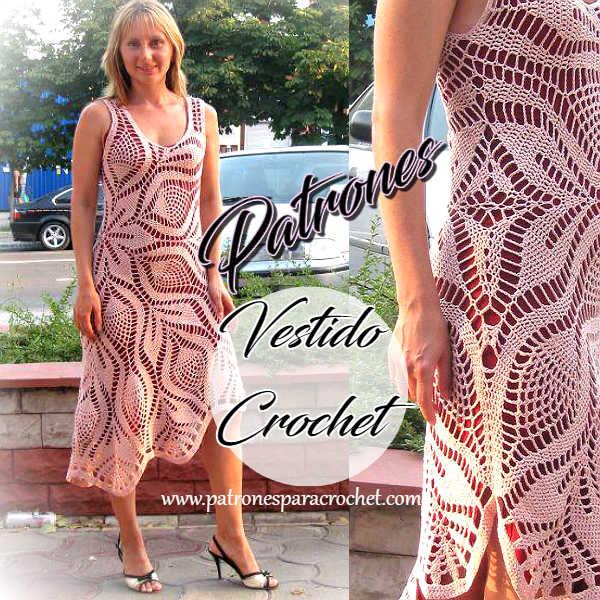 Cómo tejer un vestido con un patrón redondo para tapetes o carpetas ...