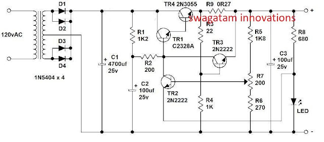 best 2N3055 current controlled variable power supply circuit