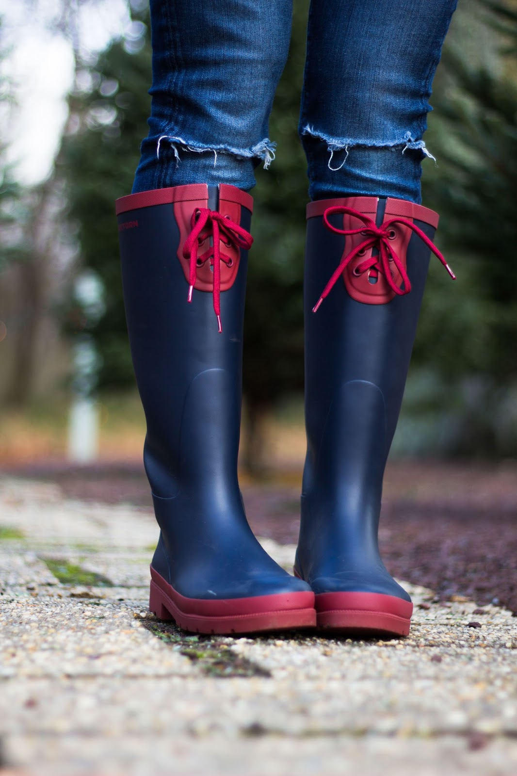 Red and Navy lace up rain boots