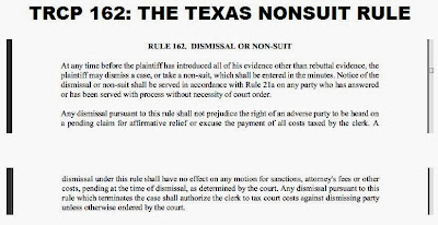 Text of Texas Rule of Procedure Number 162 (Nonsuit rule) as an image