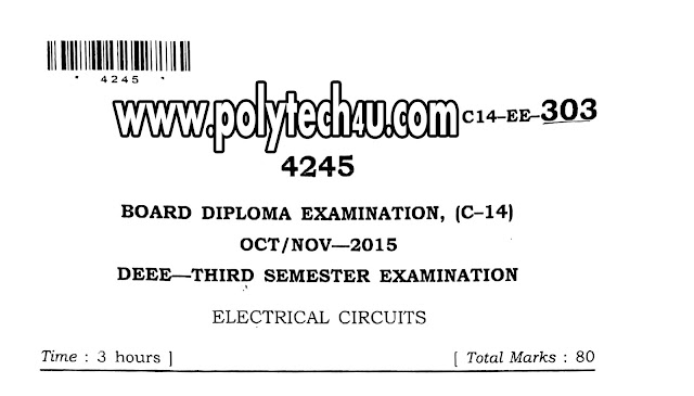 DEEE C-14 ELECTRICAL CIRCUITS QUESTION PAPERS OCT/NOV-2015