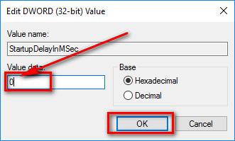 Nhập giá trị là 0 ở ô Value data