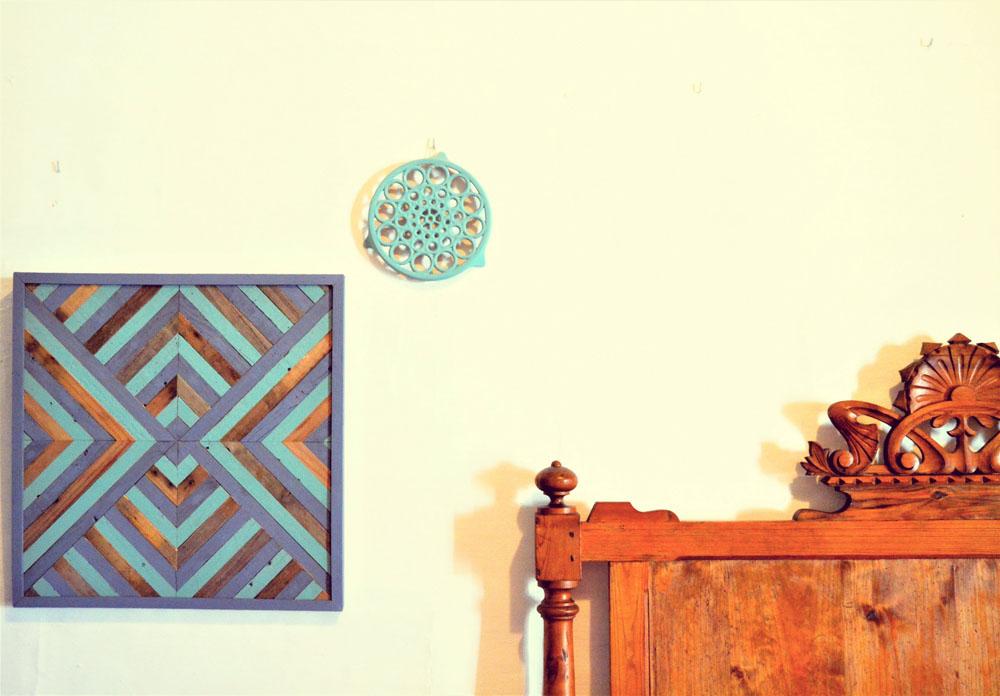 Segunda parte del tutorial como hacer un cuadro con diseño geométrico con maderas de derribo