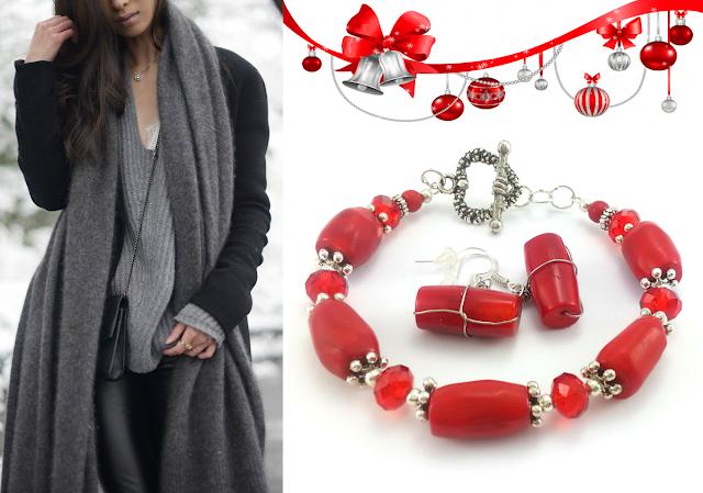 Czerwony komplet biżuterii z koralem. Rękodzieło ecobizuteria.pl