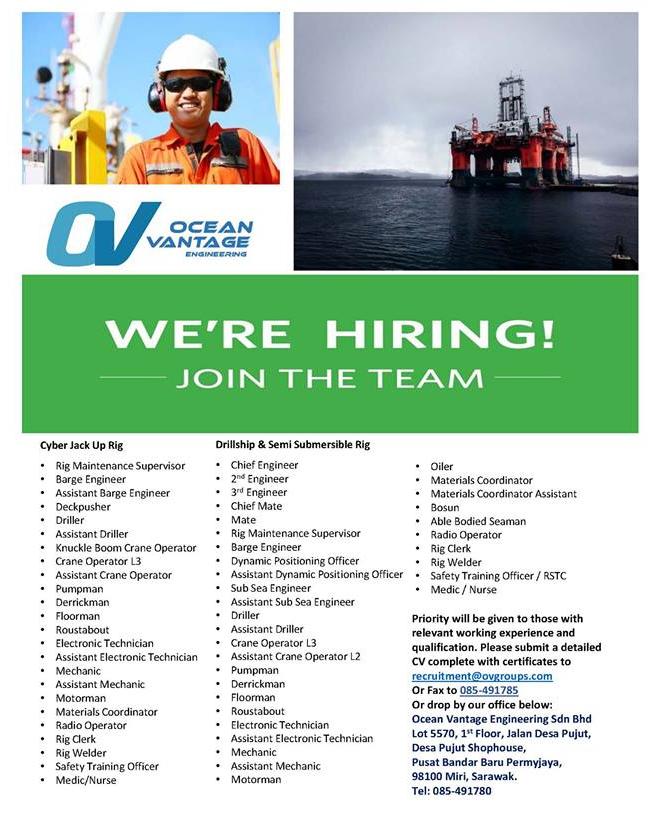 Oil &Gas Vacancies: Vacancies - Ocean Vantage - Miri