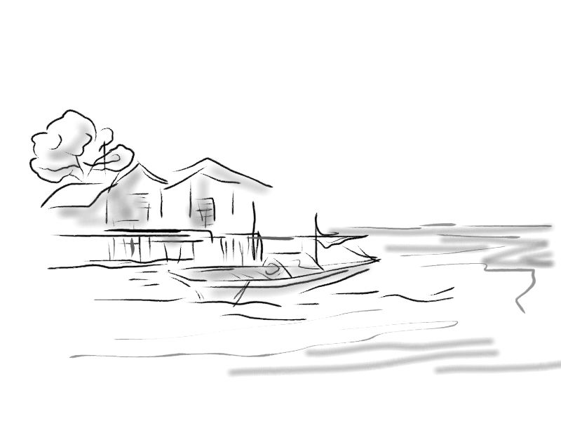 Pensil Lukisan Tepi Pantai Pemandangan
