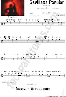 Partitura con Notas en Letra Sevillana Popular fácil para instrumentos en Clave de DO en 3ª línea para viola... Easy C Clef Sheet Music with Notes Name Viola