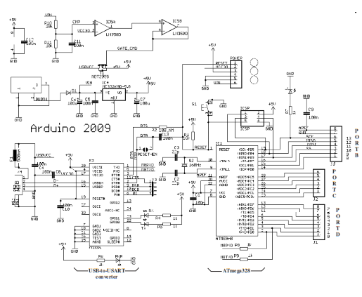 schematic diagram of arduino duemilanove microcontroller board