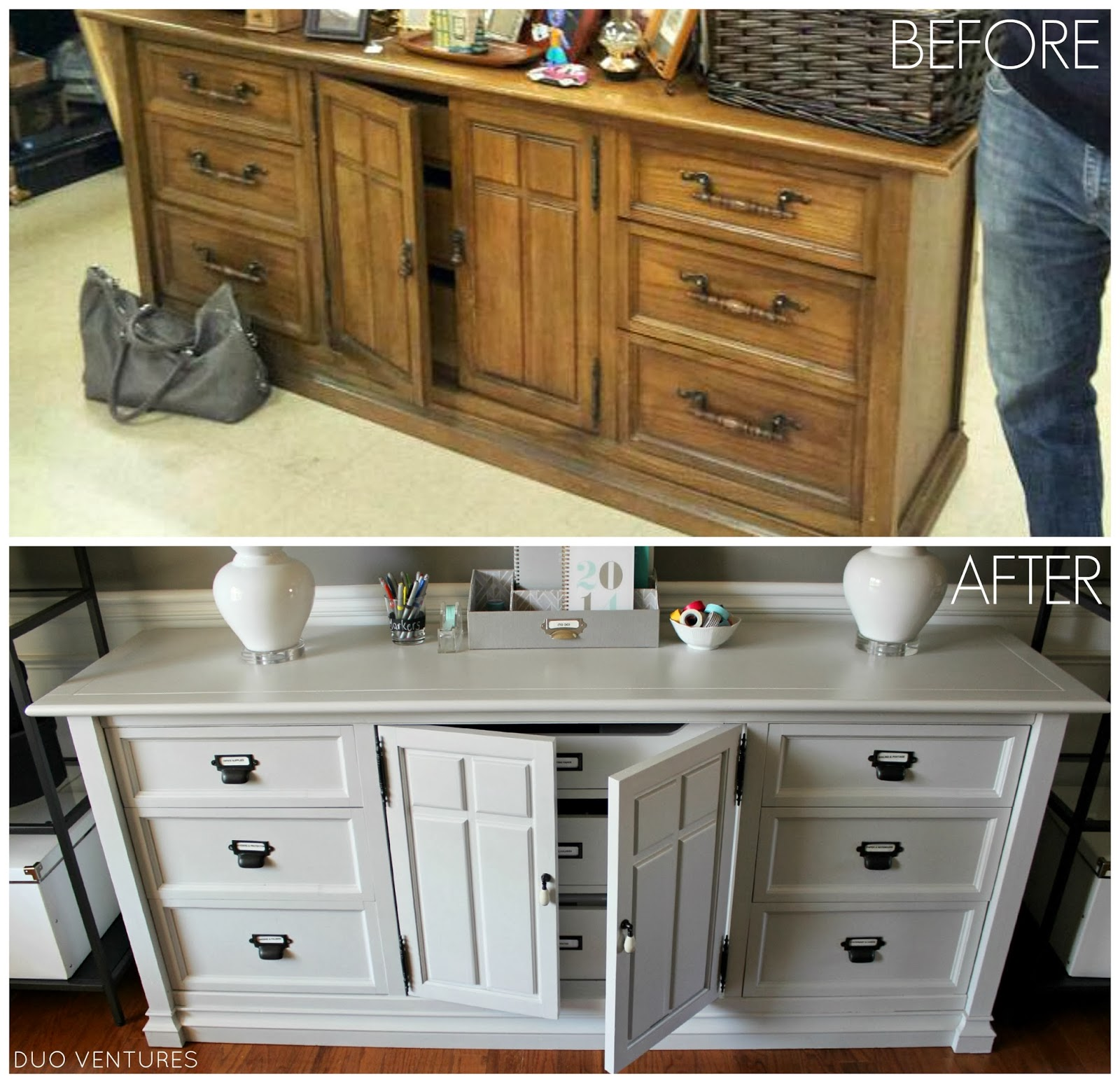 Before And After Merging Two Rooms Has Created A Super: Duo Ventures: Thriftstore Dresser: Labels