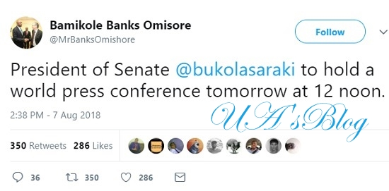 Breaking News: Saraki To Hold World Press Conference