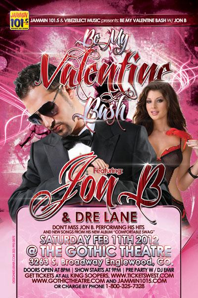 Jon B Valentine's Day Concert Flyer Design Front