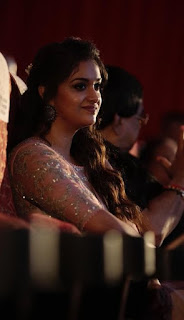 Keerthy Suresh in Saree with Cute and Lovely Smile with Chubby Cheeks at IFFI in GOA