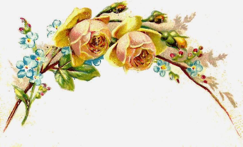 Antique Images: Free Flower Graphic: 2 Yellow Roses and Flowers ...