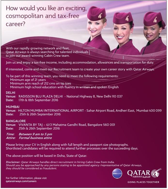 qatar airways cabin crew recruitment september 2016