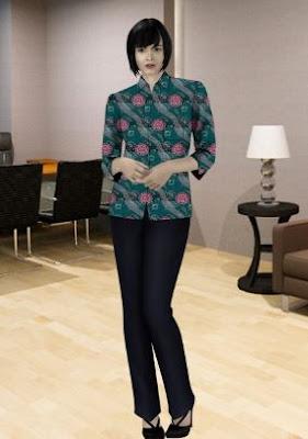 Desain seragam batik karyawan bank untuk wanita muda