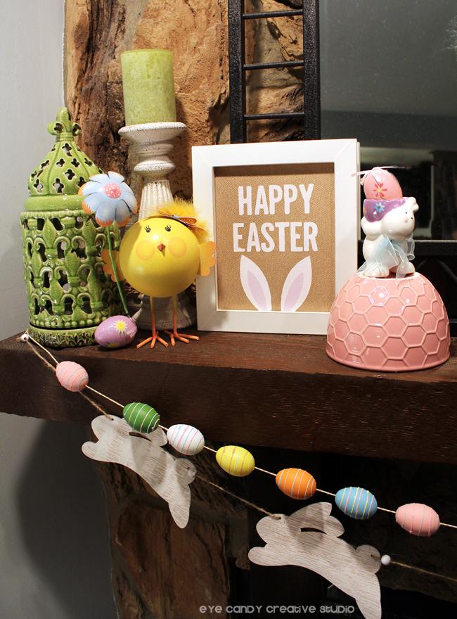 decorating a mantel for easter, easter bunny garland, easter egg garland
