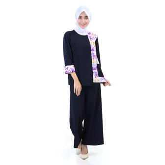 Model Baju Batik Atasan Kombinasi Wanita Muslimah