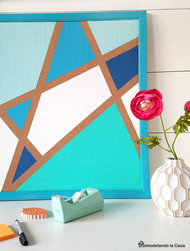 pin board with geometric blue design