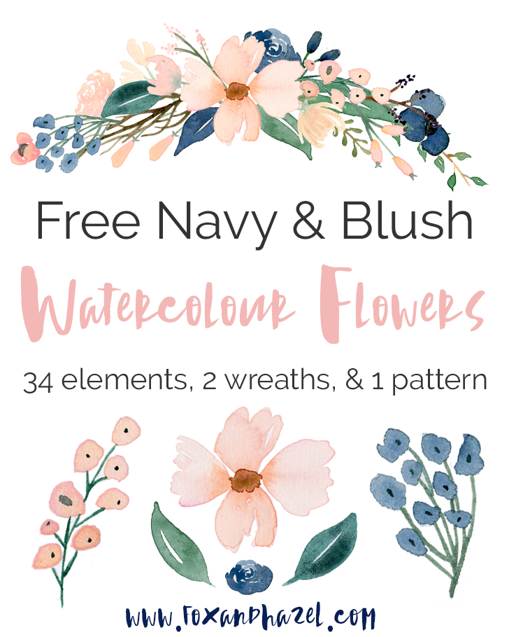 Free Blush & Navy Watercolor Flower Graphics