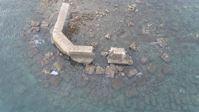 'Hadrian's pier' emerges from the sea at Lecce
