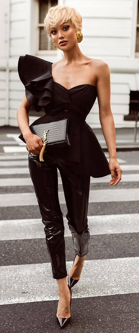 all black everything / one shoulder top + bag + heels + leather pants