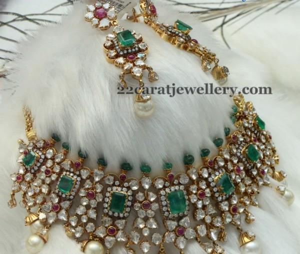 Emerald Kundan Set By Pmj Jewellery Designs