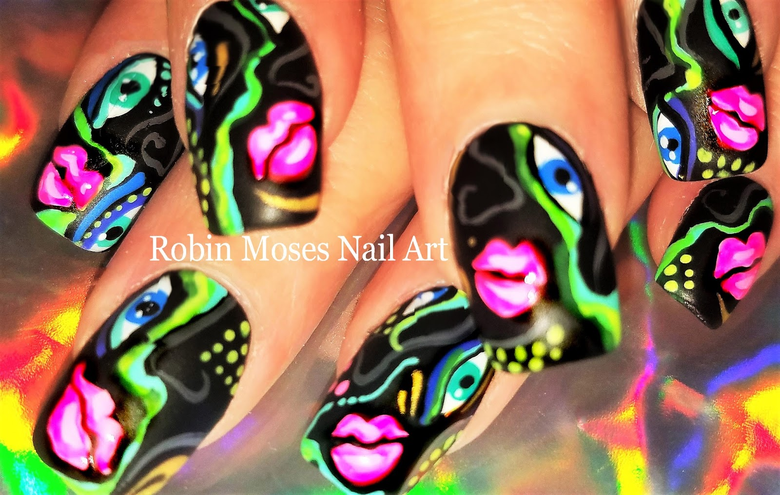 Nail Art by Robin Moses: Picasso Nails 2018 | Neon Abstract Picasso ...