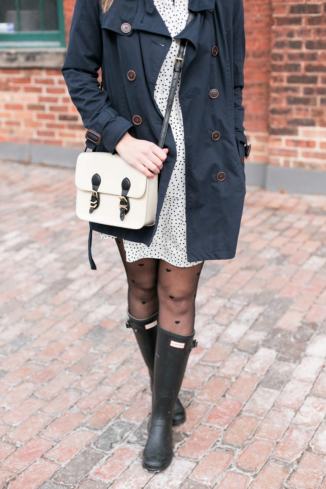 Bijuleni - 4 Spring Essentials, Navy Raincoat, Polka Dot dress, messenger satchel, Hunter books look.