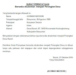 contoh surat pernyataan bersedia dicalonkan