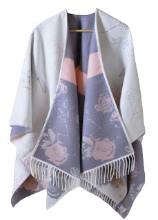 Warm Leah Knitted Poncho, Sugar Lilac