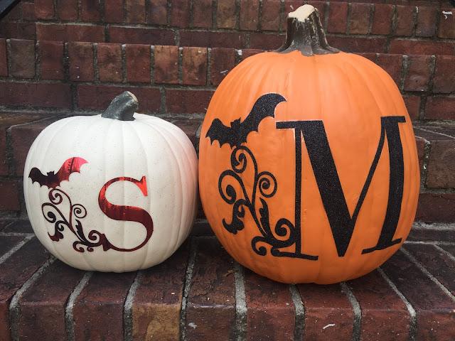 apply heat transfer vinyl to pumpkins, htv pumpkins, vinyl on pumpkins, silhouette cameo pumpkins