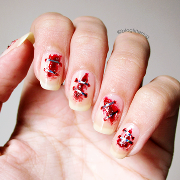 Top 10 Manicures de 2016 - Nail art de unhas grampeadas para o Halloween