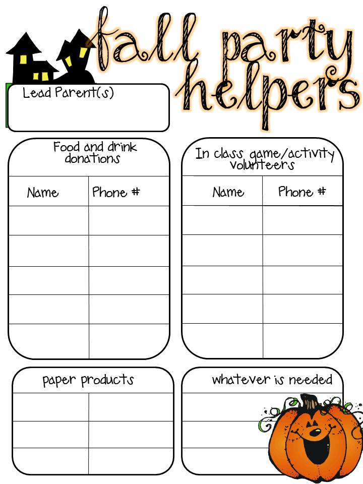 halloween party sign up sheet template