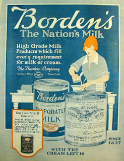 Vintage Ad for Eagle Brand Milk with blue background and woman preparing a recipe