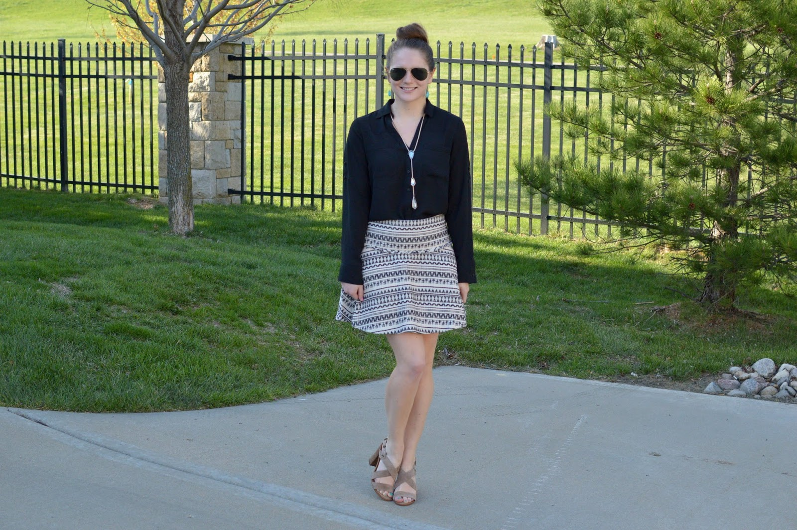 how to style a black and white patterned skirt | a memory of us | what to wear to work this spring